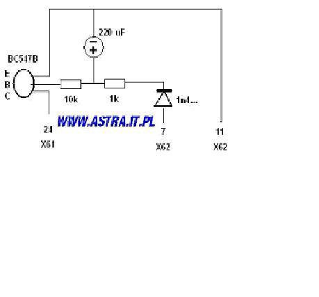 Opel,Astra G - opis wyprowadzeń fabrycznej centralki zamka