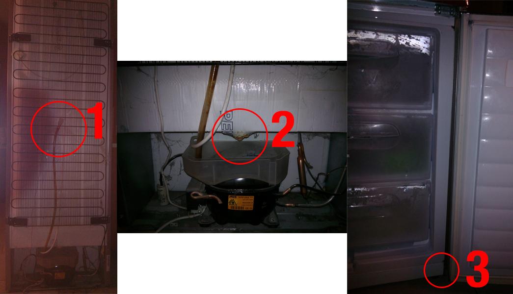 Lod�wka Hoover - Ciekn�ca po obudowie woda