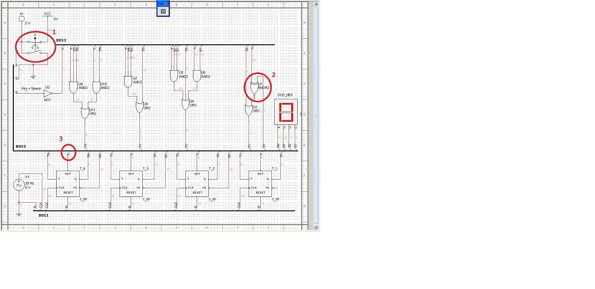 Multisim 8 - Licznik na przerzutnikach T + bramki