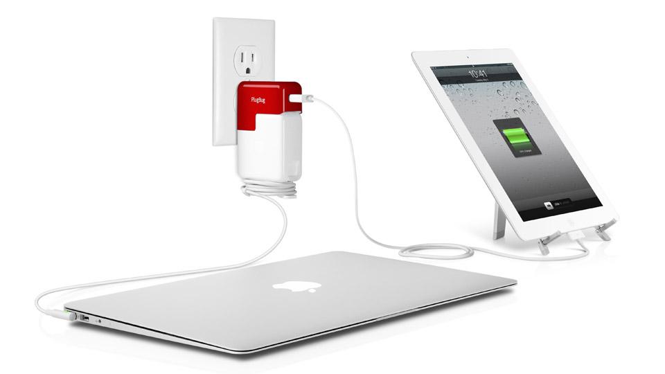 Adapter sieciowy PlugBug z portem do �adowania iPada/iPoda/iPhone'a i MacBooka