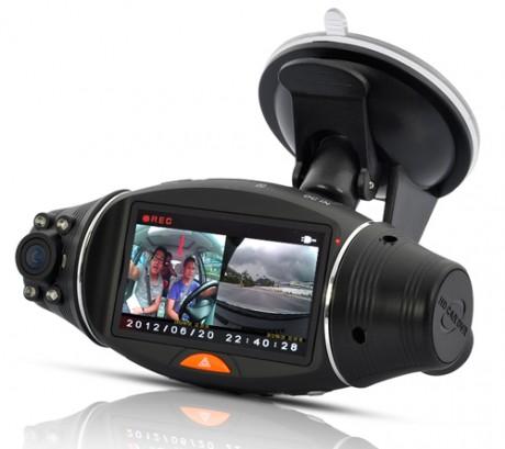 Podw�jna kamera samochodowa z DVR, GPS Logger i GPS Sensor za $85