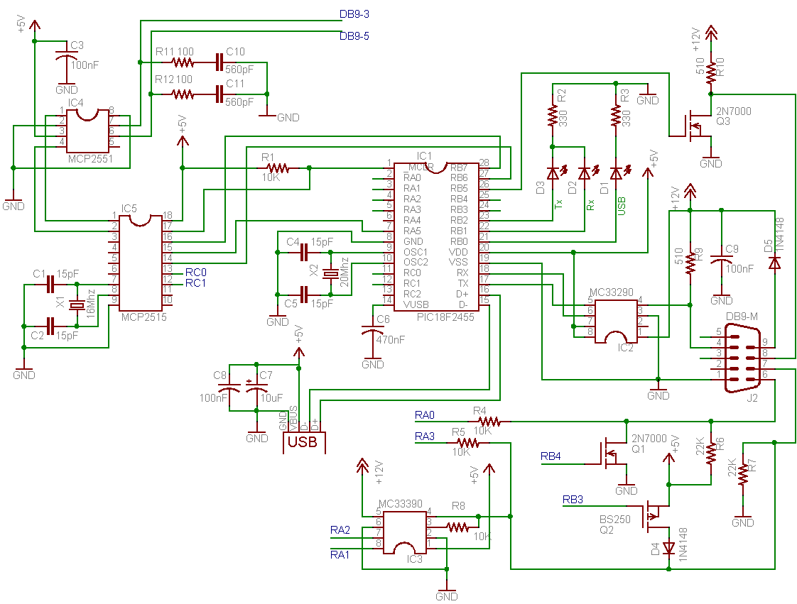 Elm327 Integrated Circuit Diagram Wiring Diagrams Usb Schematic Symbol Adapter Allpro Kompatybilny Z Obd Ii Do Portu Board
