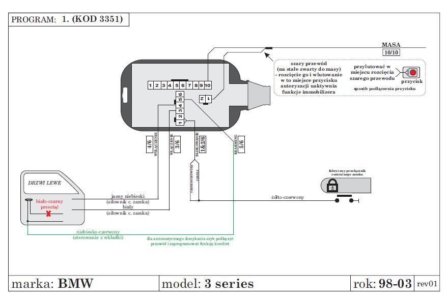 Pod��czenie kra�c�wek drzwi alarmu, BMW e46 328coupe