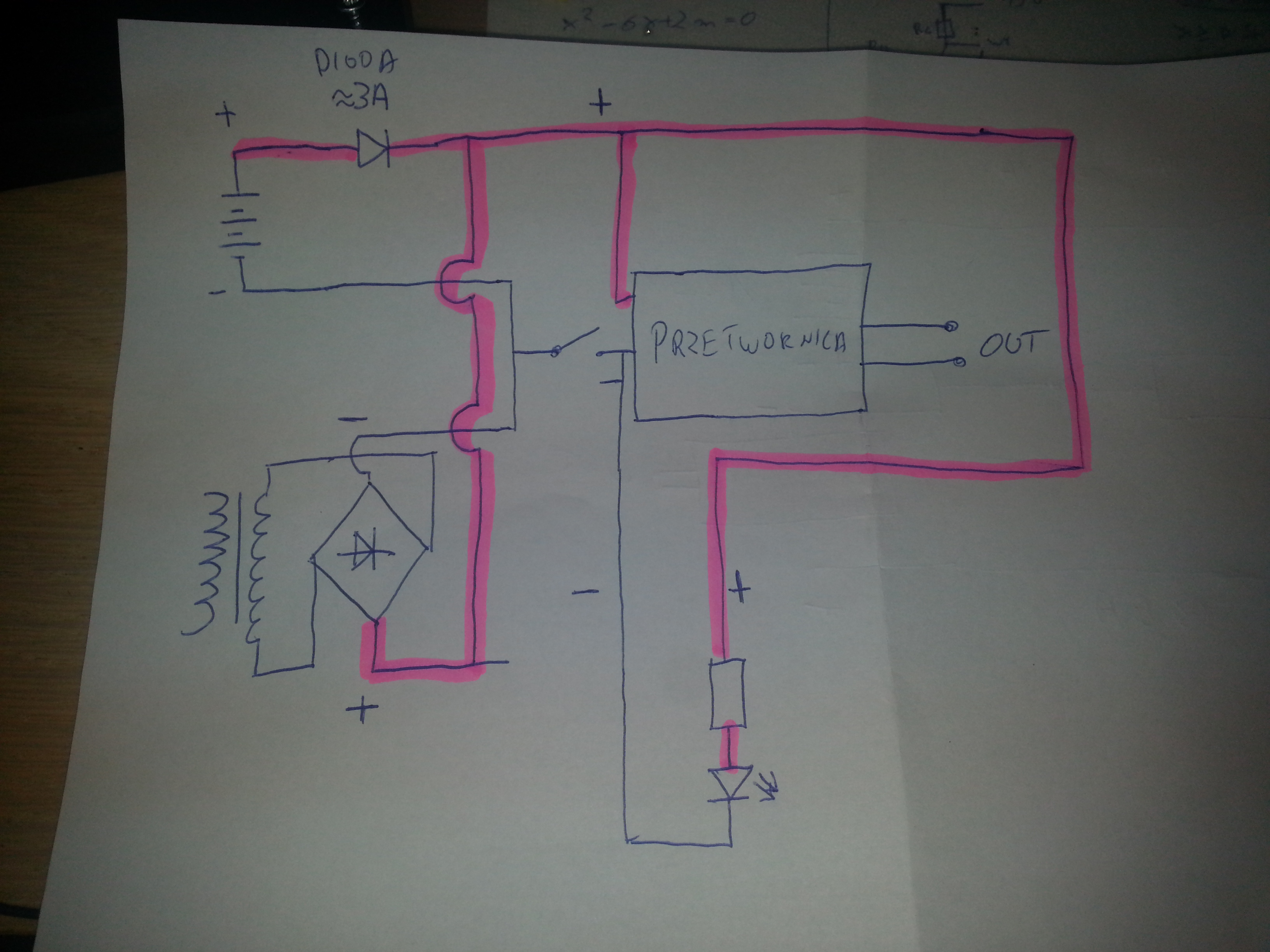 Zasilanie przetwornicy HID 12V 3.5A z pr�dnicy + akumulator 12V