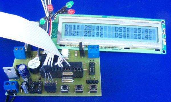 2 termostaty + histereza + Alarmy i 2 termometry- Atmega [B] LCD