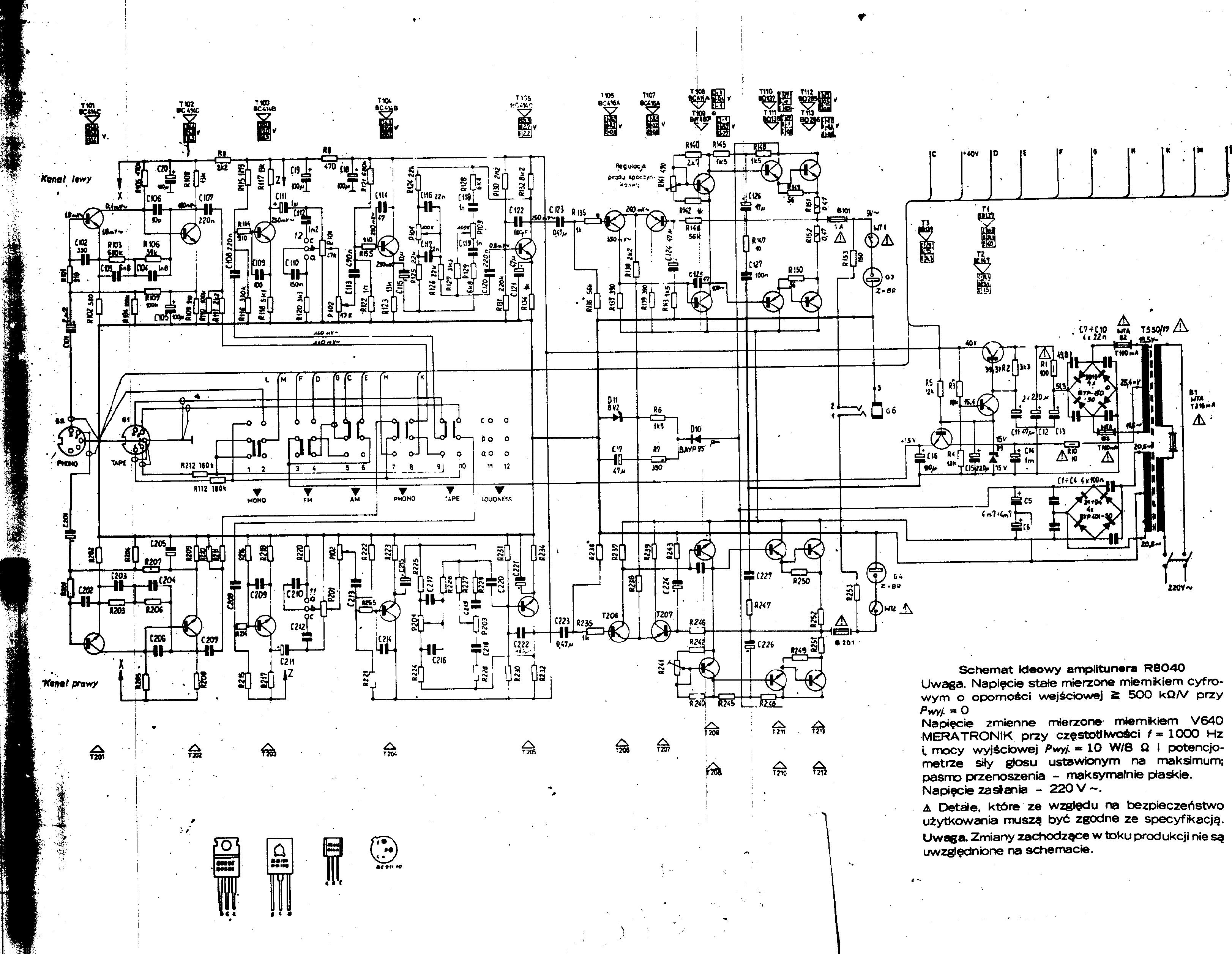 Amplituner unitra R8040 - Brak niskich ton�w w jednym kanale