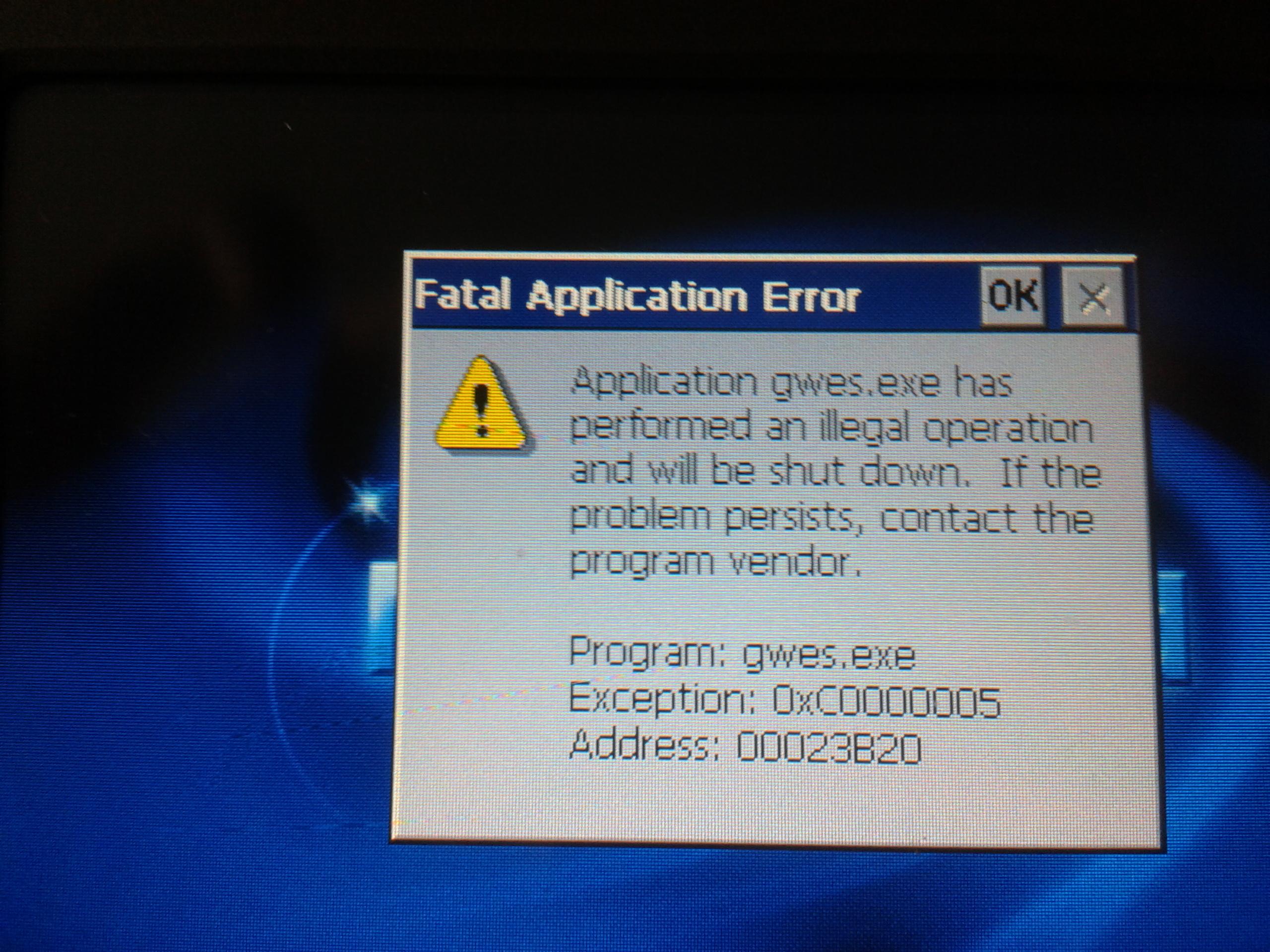 Fatal Application Error- NaviRoad NR411