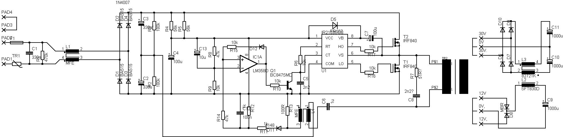 Przetwornica 230AC/2*35 i 12V- 200W IR2153 z zabezpieczeniem