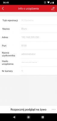Hikvision połączenie przez ip/domena z aplikacją na telefonie