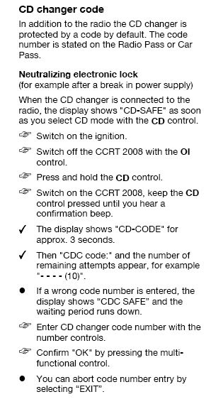 CCRT2008 Opel CDC safe. Sposób wprowadzenia kodu.