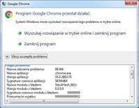 - Program Google Chrome przestał działać