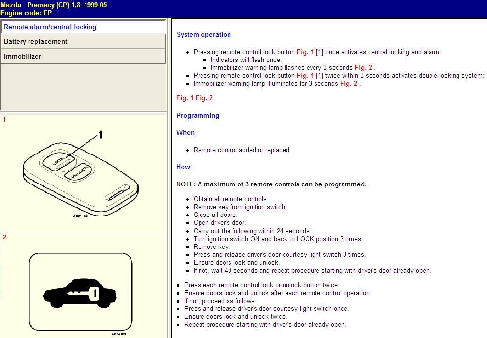 Mazda Premacy - centralka nie widzi nowego pilota.