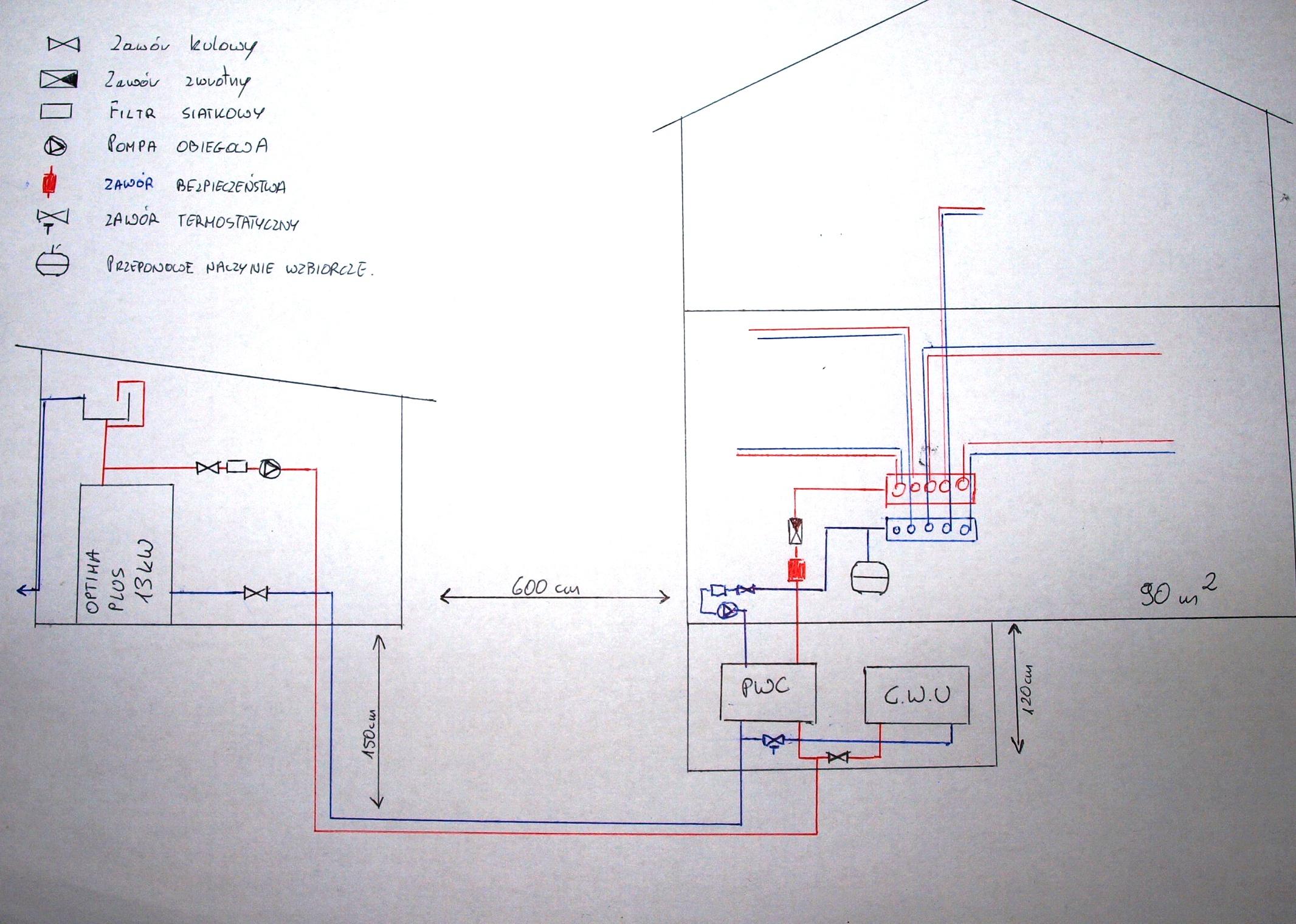 DEFRO/OPTIMA PLUS/ 13 kW - Kot�ownia poza domem - schemat do sprawdzenia