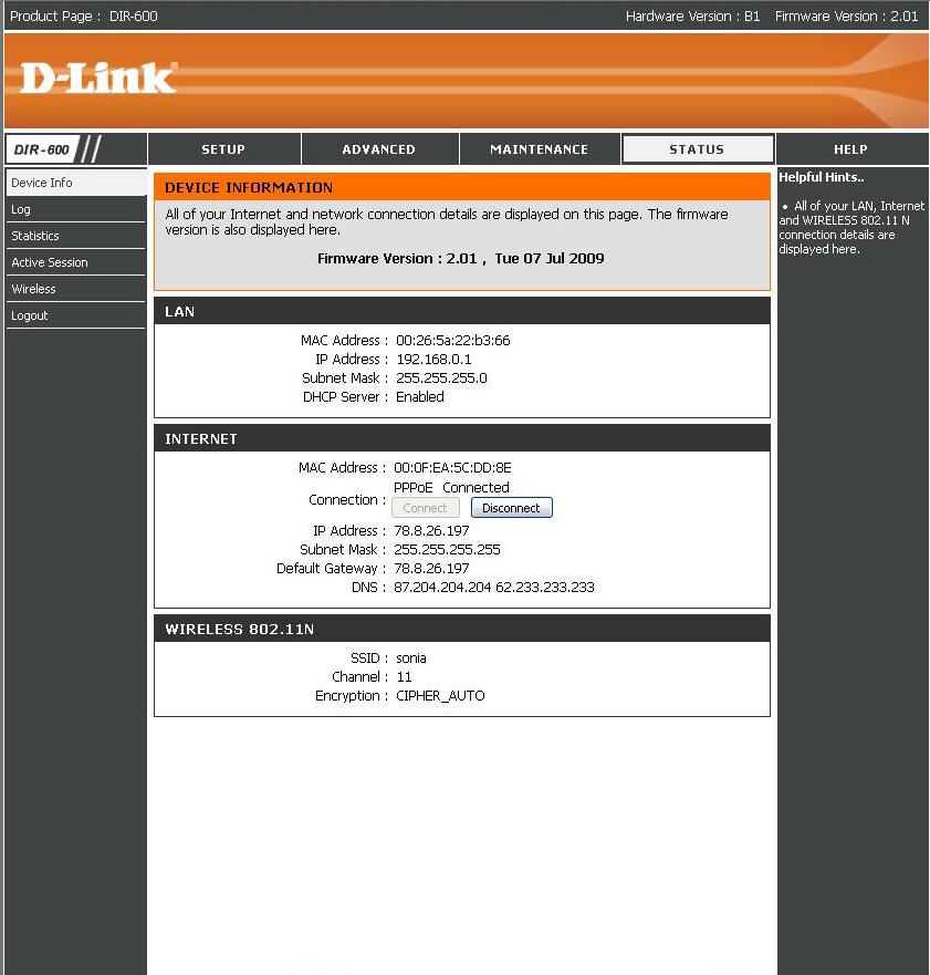 D-link DIR 600  - Brak internetu,chocia� router pokazuje co innego.