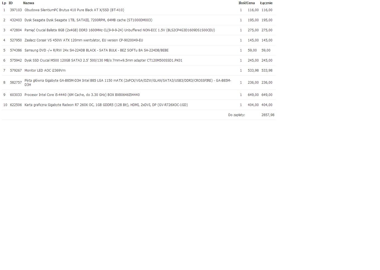 Pro�ba o ocen� zestaw�w (biuro,baza danych,filmy HD,gry)  3-4k PLN
