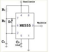 Timer na NE555 W�wietlacz LED Dwucyfrowy