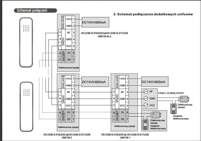 Orno - OR-DOM-IS-917/B - Jak pod�aczy� dodatkowe unifony na jednym zasilaczu