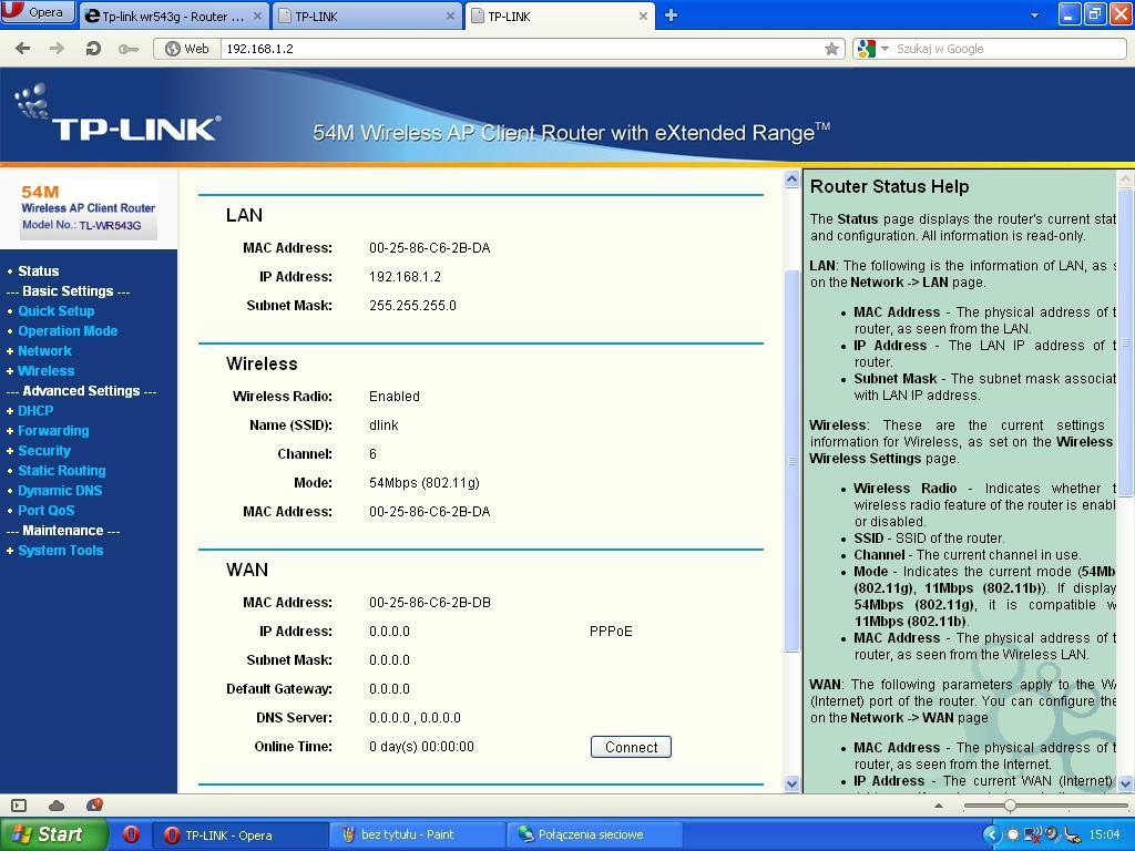 Tp-link wr543g - Router Tp-link i internet radiowy