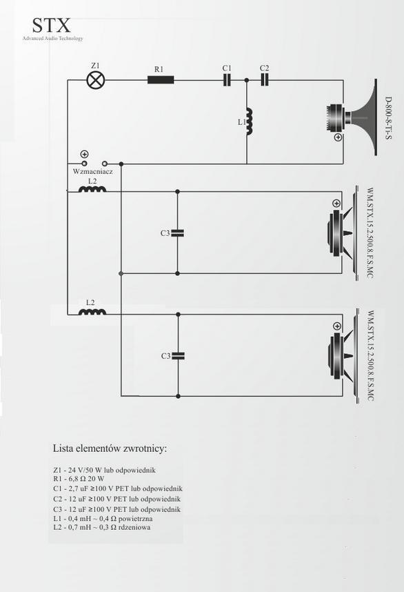 "Kolumna estradowa 2x 15"" + 1x 1,7"" STX. Zwrotnica, litra�, projekt"