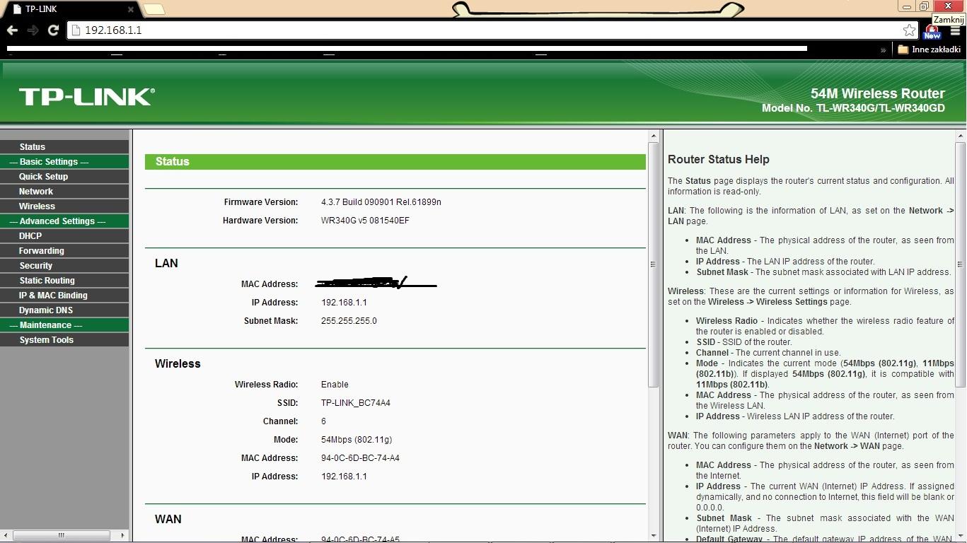 Konfiguracja routera TP-LINK TL-WR340G pod internet Multimedii.