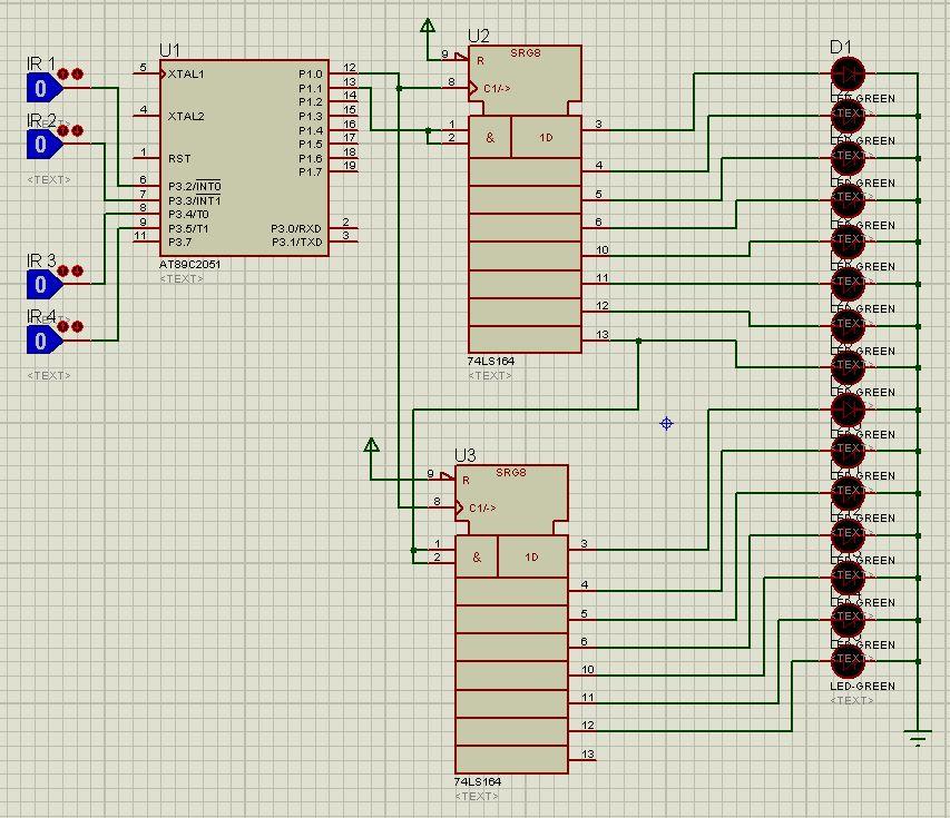 [at89c2051][C]Pod�wietlenie schod�w LED - rejestr przesuwny 74HC164