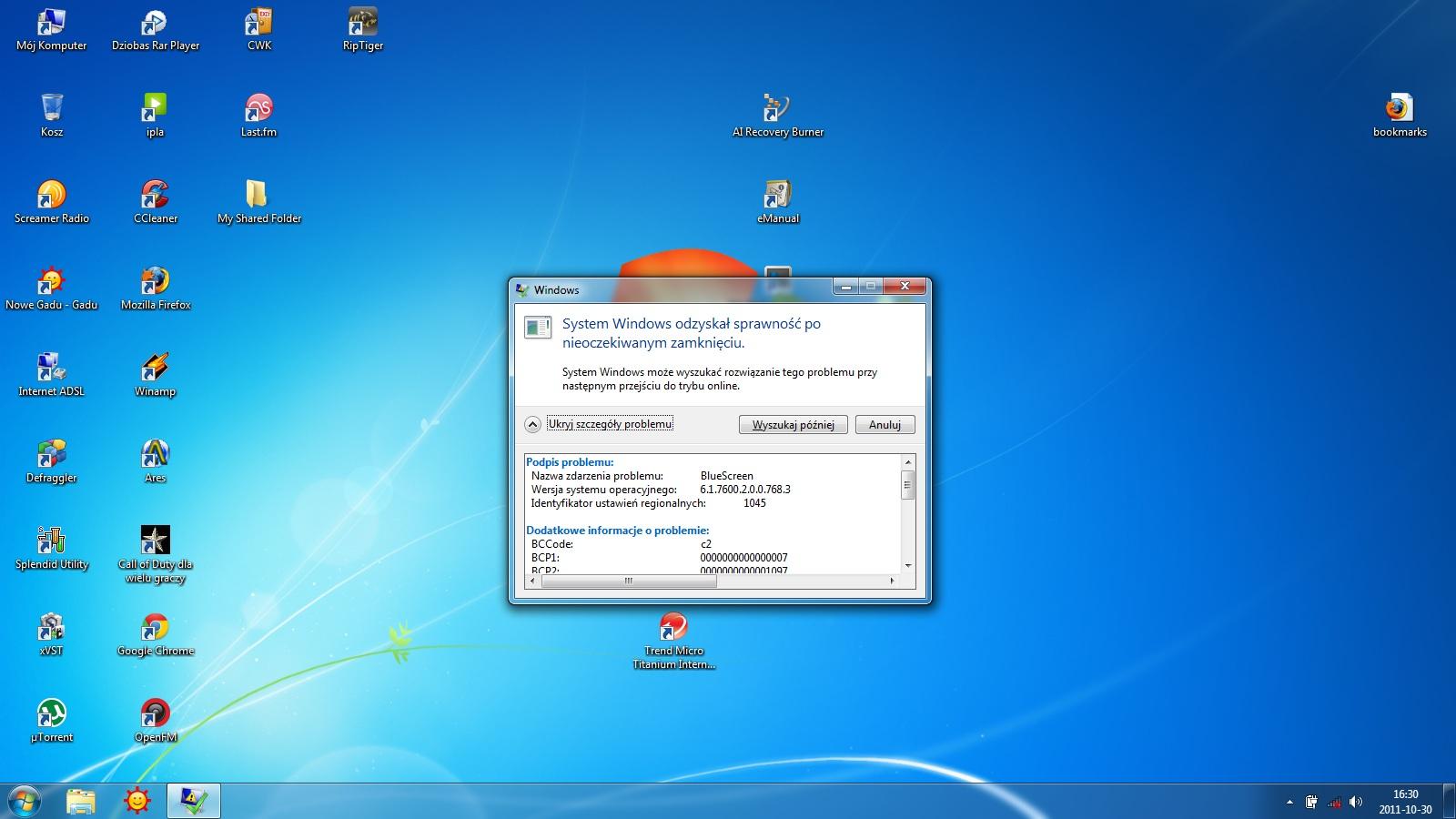 Asus X73S i BlueScreen Windows 7 64bit