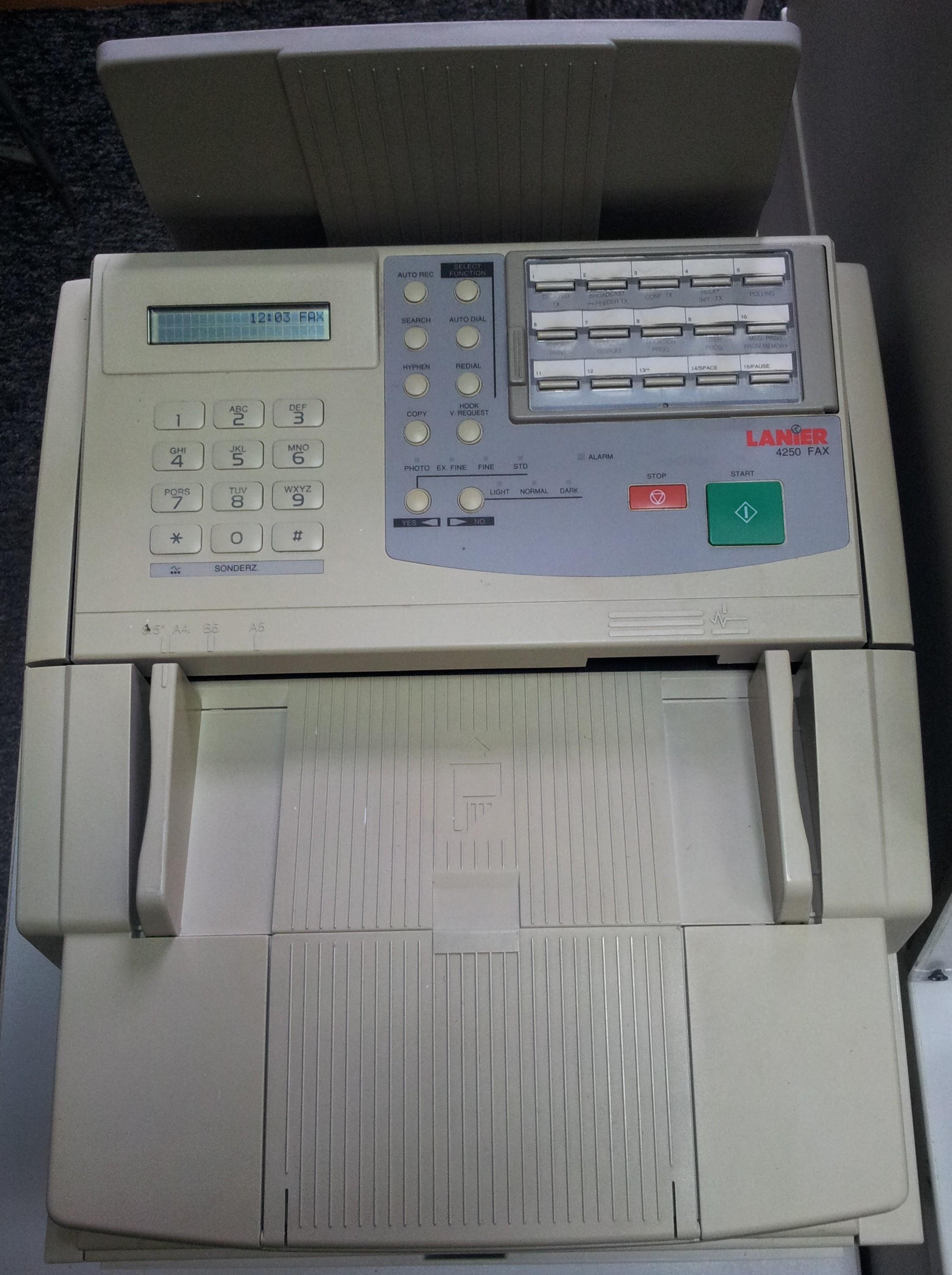Szukam instrukcji obs�ugi Lanier 4250 Fax