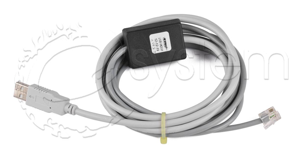 Po��czenie centrali satel ca-10 przewodem USB-MGSM firmy ROPAM.