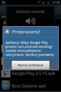 Samsung Galaxy mini 2 - Nie dzia�a aplikacja Sklep Google Play.