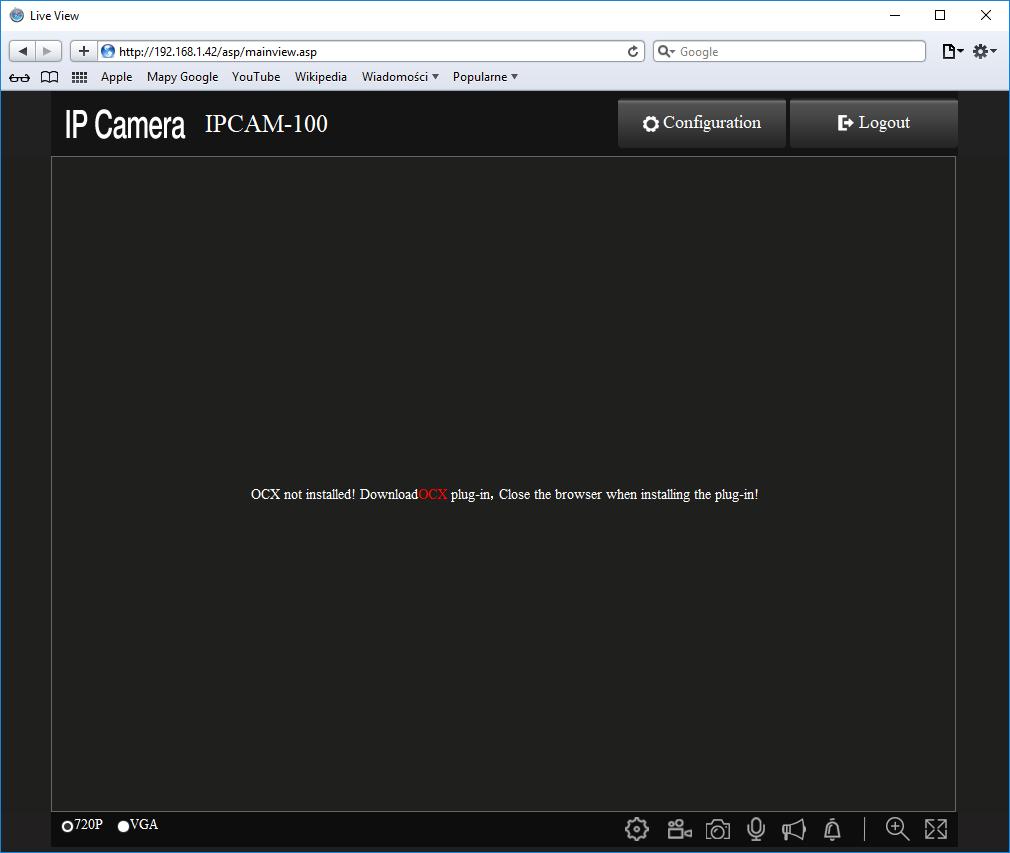 Logowanie się do kamer IP z poziomu przeglądarek i brakujący