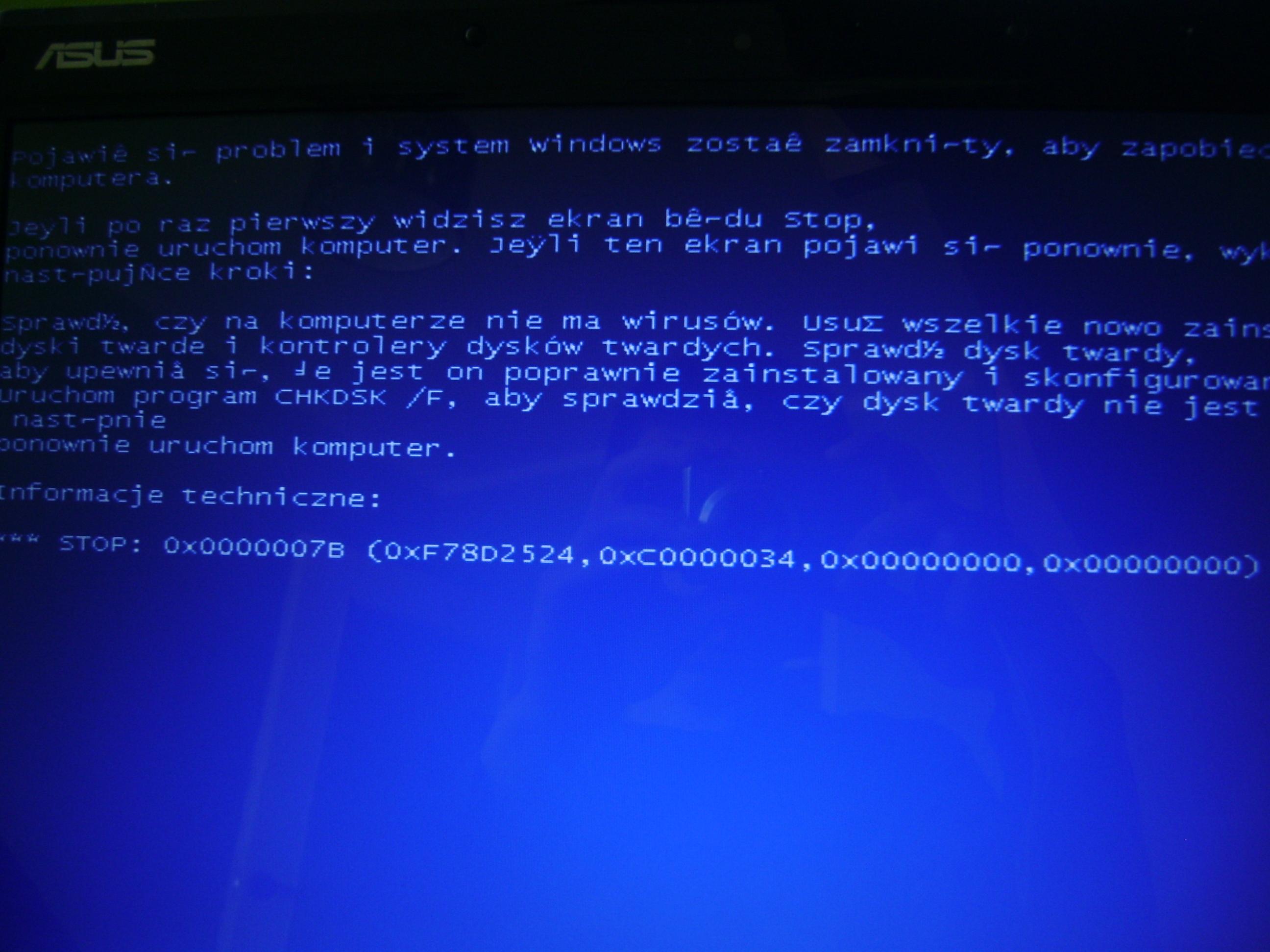 Laptop asus - Windows si� nie w��cza