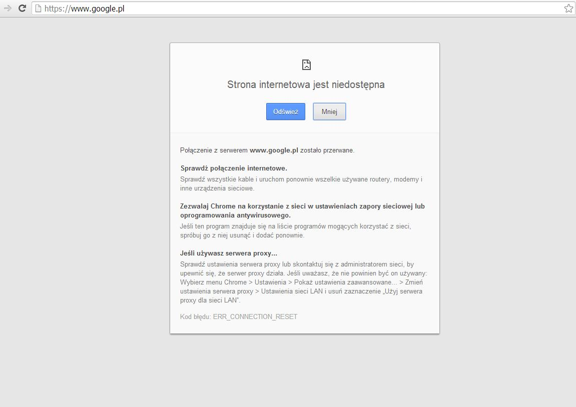Google Chrome Strona internetowa jest niedost�pna Kod b��du:ERR_CONNECTION_RESET