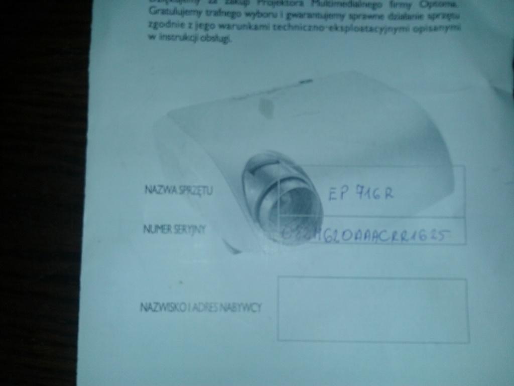 [Sprzedam] Projektor OPTOMA EP716R do sprzedania