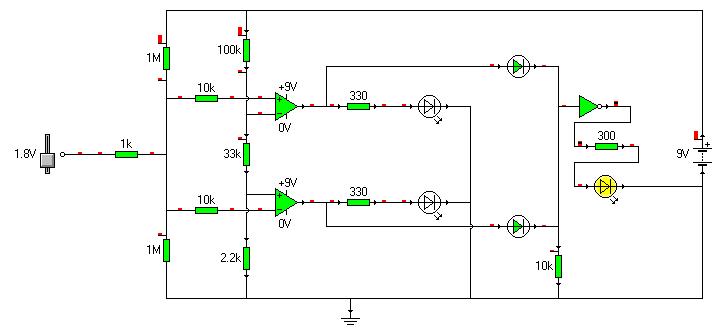 Próbnik logiczny. Trzecia dioda pokazująca stan niokreślony.