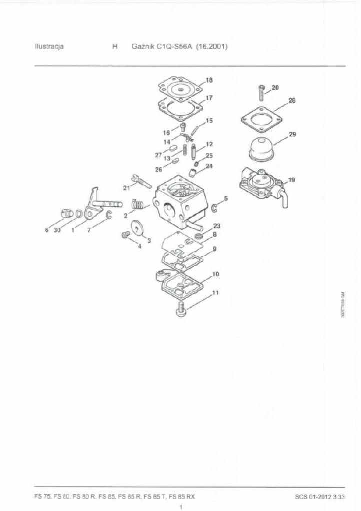 Regulacja obrot�w kosy Stihl FS-85 po wymianie element�w ga�nika