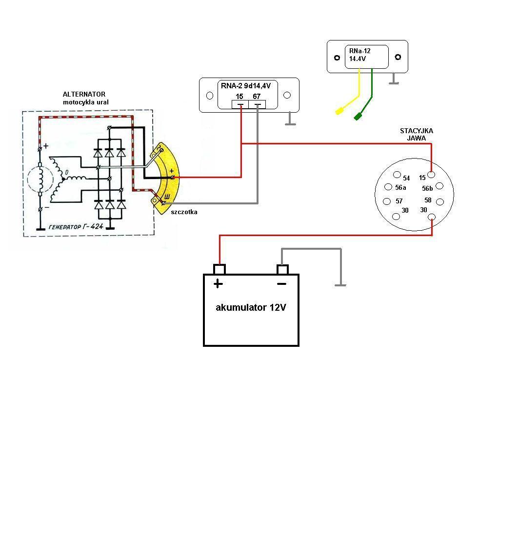 Alternator motocykla URAL- jak pod��czy� regler elektroniczny?