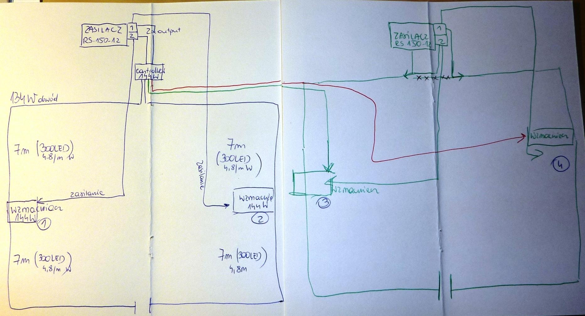 Schemat pod��czenia led�w, sterownika, wzmacniaczy i zasilaczy 260W