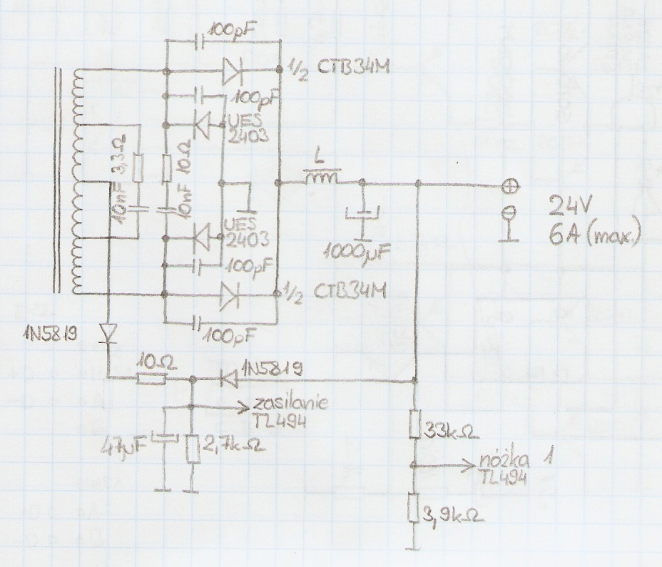 Zasilacz 24V 6A z element�w zasilacza AT, d�awik wyj�ciowy, piszczenie