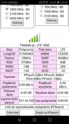 Wahania wyboru pasma, BTS'a i anteny T-mobile Huawei b252s-23a