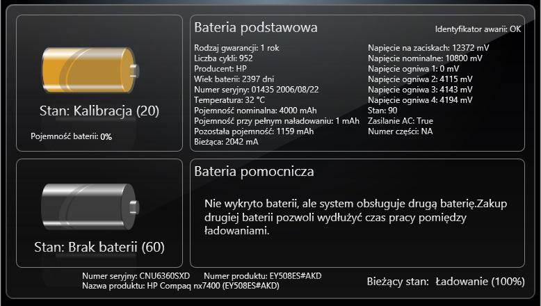 Hp Compaq nx7400 - Bateria po wymianie ogniw 0% i od razu 100% na�adowania