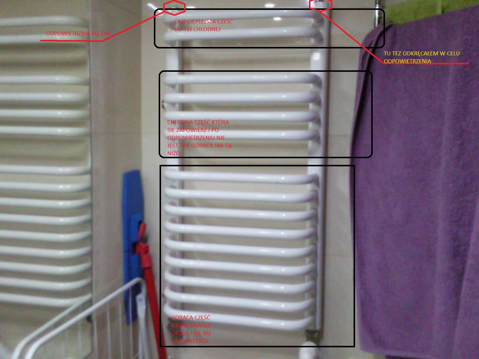 zimny grzejnik �azienkowy - odpowietrzanie nieskuteczne