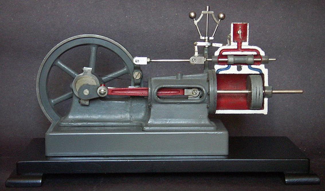 Schemat budowy t�oka silnika parowego