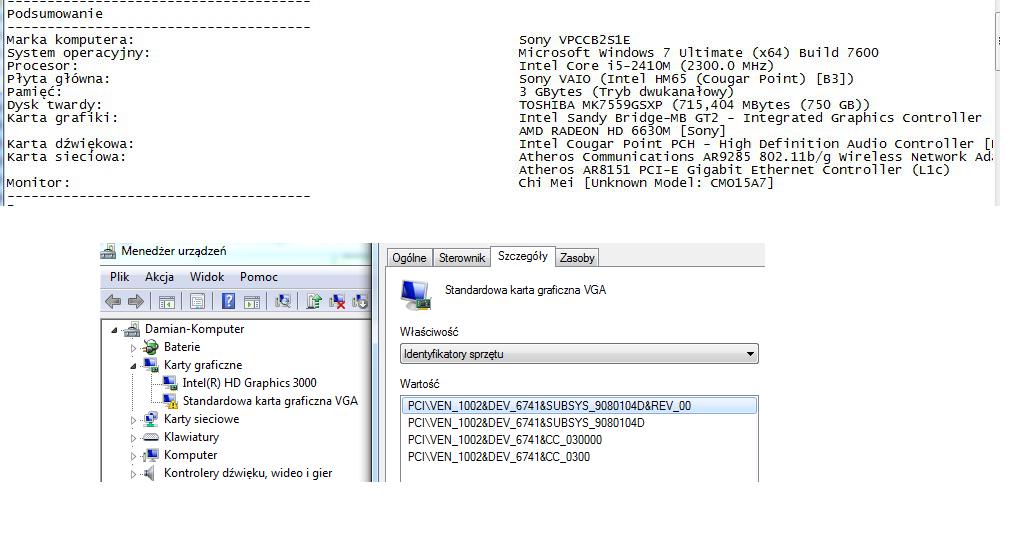 Sony Vaio VPCCB2S1E sterowniki do grafiki dedykowanej oraz klawisze funkcji
