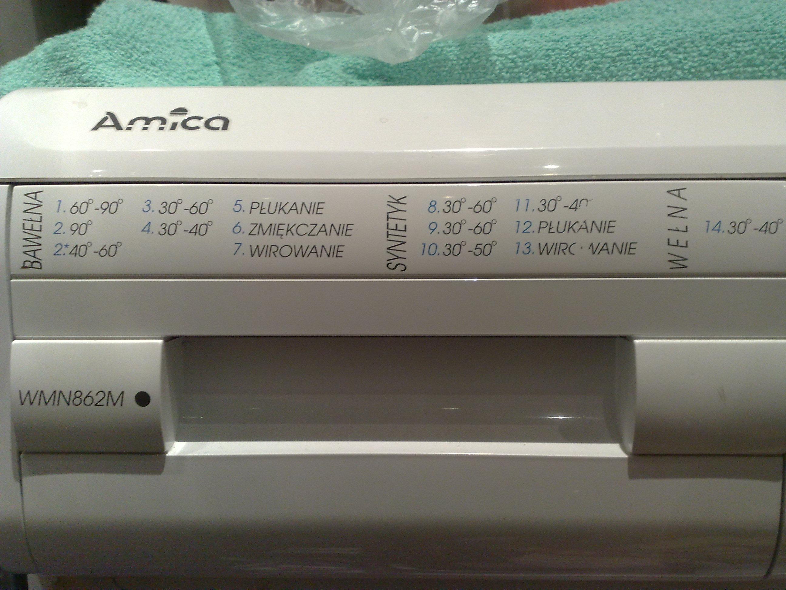 Pralka Amica WMN 862 m nie wiruje.