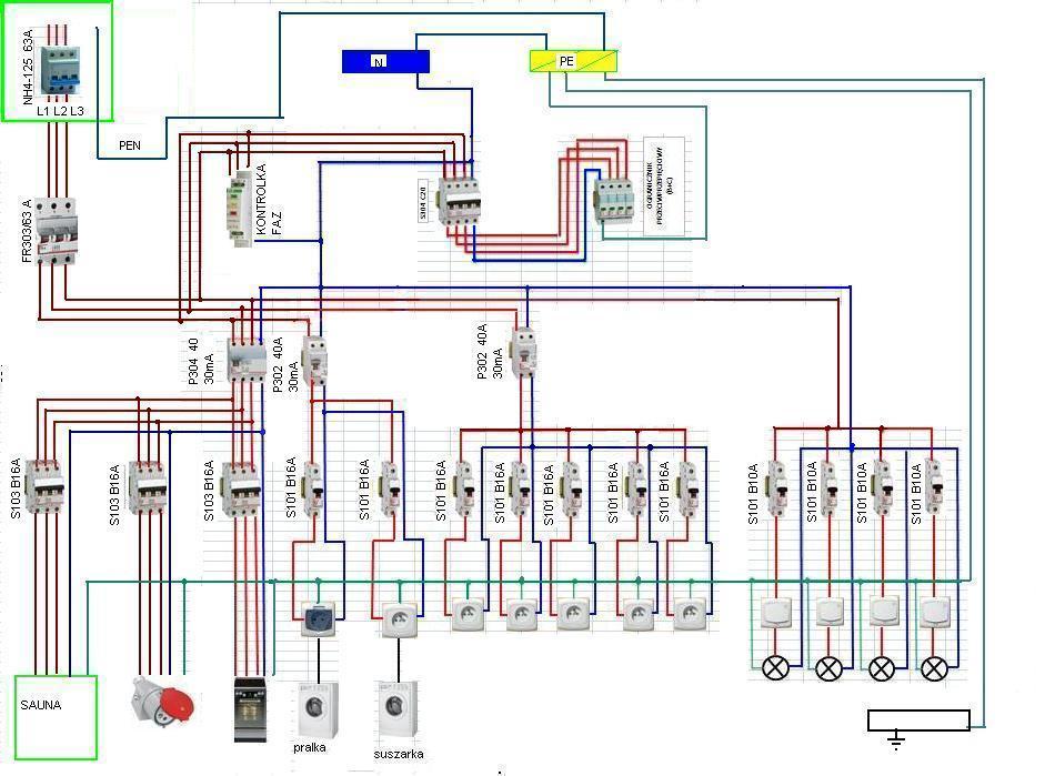 Schemat instalacji elektrycznej domu z podzia�em PEN