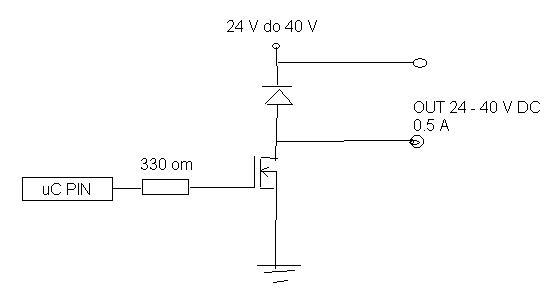 Wlaczanie, wylaczanie napiecia 30V DC, 0.5A przy pomocy proc