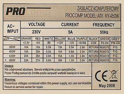 PROCOMP ATX KY-450W - eksplodował termistor jaki ma być?