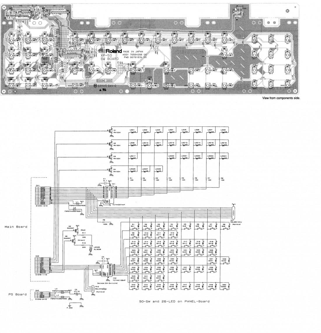 Roland XP-50 SW board - Uszkodzona p�ytka, jak polutowa�?