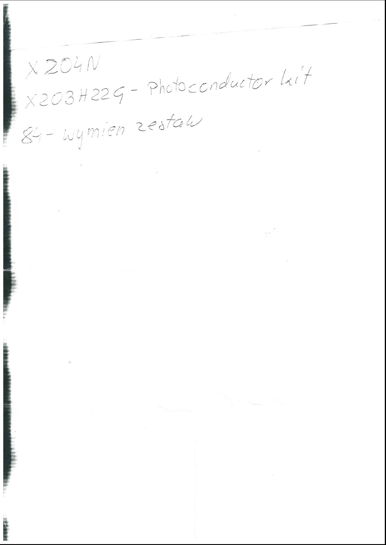 Lexmark x204n - Czarny pasek na kraw�dzi strony