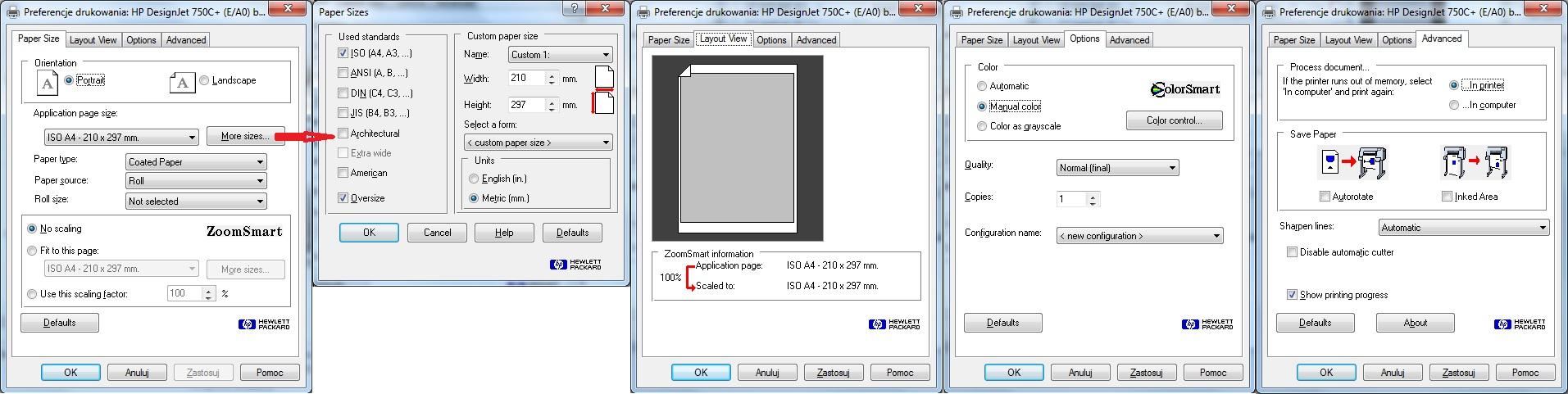 HP DesignJet 450C+ - Jak wydrukowa� obraz mapy d�u�szy ni� d�ugo�� A0?